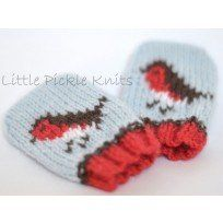 Kint these adorable little robin baby mittens to keep little hands warm this Winter Knitting pattern by Linda Whaley. Crochet Baby Mittens, Crochet Bebe, Knit Mittens, Baby Blanket Crochet, Knit Crochet, Love Knitting, Intarsia Knitting, Knitting For Kids, Knitting Projects