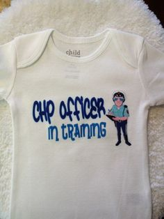 White CHP Officer in Training Onesie (ANY PROFESSION. See below) | MissPhiesBoutique - Clothing on ArtFire