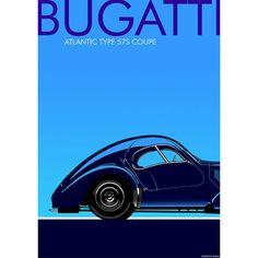 FRENCH BUGATTI ATLANTIC car print Father's Day gift Art Deco 1930's Car lovers present Petrol Head Man Cave Bugatti Original man present