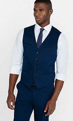 cotton sateen navy blue vest