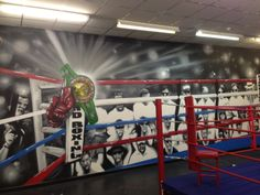 Client: MOD - Gym graffiti interior - #graffiti #design #interiordesign #gym #boxinggym #handpainted #bespoke #custom #dorset #boxing #design #crowd