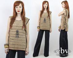 #Vintage #70s Tan #Crochet Knit #Hippie #Tunic Top fits S/M/L by #shopEBV http://etsy.me/1DEq3mo via @Etsy #etsy #hippy #boho #bohemian