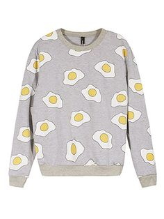 Description: Material:Cotton Polyester Style:Casual Collar:O-neck Color:Gray Pattern:Fried Eggs Printed Sleeve Length:Long Sleeve Season:Summer Package included: 1*Sweatshirt