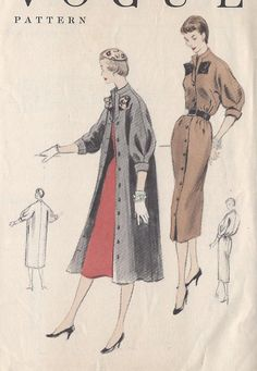 Vogue 3589 1954 1pc Dress & Unlined sld 14+2.99   Sz13/31.5/35 No seam at waistline.Extension neckband continues partway down front.Buttoned front closing.Below elbow length kimono sleeve w/inverted pleat above shaped cuff.Pockets in side seam.Novelty belt.