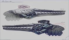 Crysis 3 Characters and Weapon Concept Art by Timur Mutsaev - Game Art Hub Sci Fi Weapons, Weapon Concept Art, Weapons Guns, Fantasy Weapons, Alien Concept Art, Spaceship Art, Future Weapons, 3 Characters, Art Hub