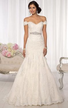 Beautiful Floor-length Off The Shoulder Lace Wedding Dress