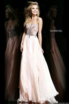 Sherri Hill 3895, Sherri Hill Prom Dresses, 2014 in light pink and long