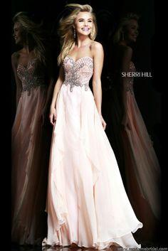 Sherri Hill 3895, Sherri Hill Prom Dresses, 2014 in light pink and long