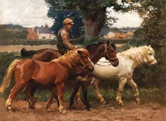 Christie's Large Image  leading Ponies along a Road by Munnings