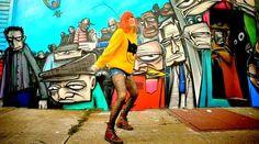 """Lovefoxxx in Jeremy Scott sweater from Cansei de Ser Sexy - """"City Grrrl"""" music vid"""