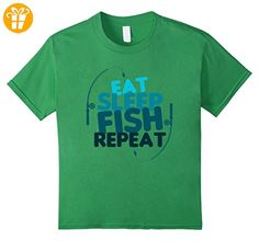FISHING T-Shirt: Eat Sleep Fish Repeat Funny Fishing T-shirt Kinder, Größe 152 Grün (*Partner-Link)