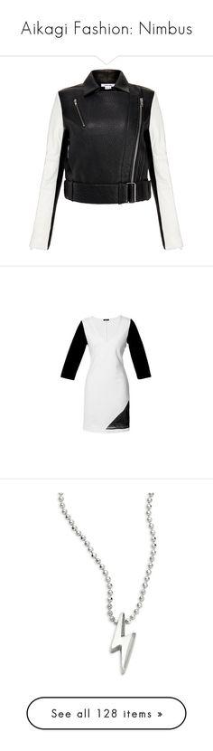 """""""Aikagi Fashion: Nimbus"""" by mugetsu ❤ liked on Polyvore featuring outerwear, jackets, black, coats & jackets, leather moto jacket, black and white motorcycle jacket, black and white leather jacket, real leather jackets, moto jackets and dresses"""