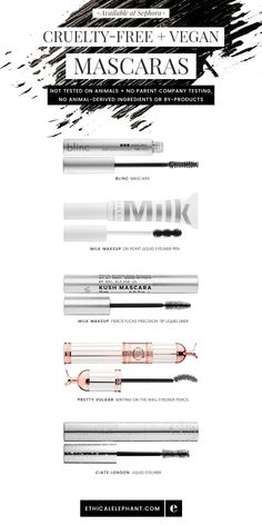 Cruelty-Free & vegan mascaras available at Sephora! Not tested on animals, no parent company animal testing, no animal ingredients.