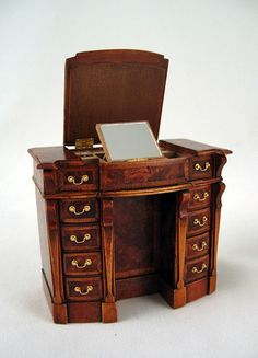Georgian Jewelry Desk by Keith Bougourd - $1,850.00 : Swan House Miniatures, Artisan Miniatures for Dollhouses and Roomboxes