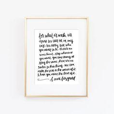 F. Scott Fitzgerald For What It's Worth Print