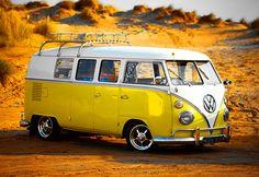Yellow split window VW bus