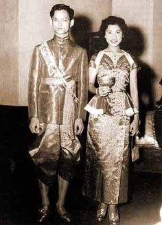 His Majesty King Bhumibol Adulyadej the Great and Her Majesty Queen Sirikit royal wedding on Saturday, April 28 1950