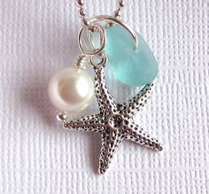 Aqua Seaglass Jewelry Starfish via Etsy