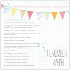 Remember When | Marnie Flores - great idea!