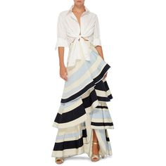 Johanna Ortiz Lombard Street Tiered Ruffle Skirt (21.735.225 IDR) ❤ liked on Polyvore featuring skirts, high waisted knee length skirt, white knee length skirt, layered ruffle skirt, white a line skirt and high-waist skirt