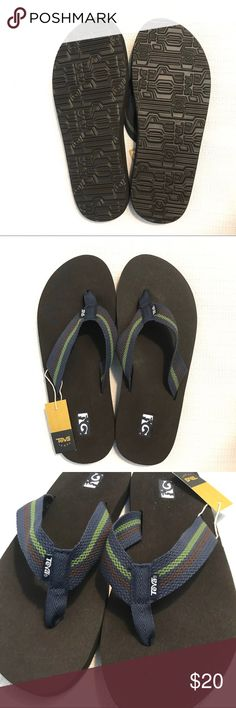 Teva Boys/' Mush II Flip Flop Sandal Black//Blue//Grey Size 8-10 Toddler Brand New