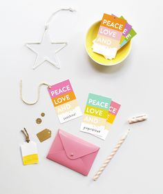 FREE 'Peace Love and Colour Block' Gift Tags