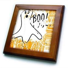 """Patricia Sanders Creations - Ghost Abstract- Halloween- Art - Framed Tiles :           Ghost Abstract- Halloween- Art Framed Tile is 8"""" x 8"""" with a 6"""" x 6"""" high gloss inset ceramic tile, surrounded by a solid wood frame with predrilled keyhole for easy wall mounting.                           **Read more Details : http://gethotprice.com/appin/?t=B006VP57T2"""