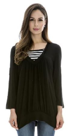 £16.99 - Perfect for versatility this long black top compliments many looks. Offering rings on the sleeves for a casual rolled up or warm covered look, this easy to nurs