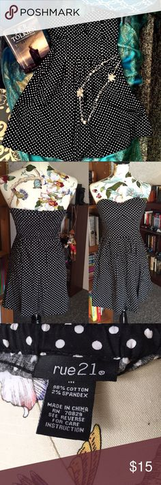 Polka Dot Sundress 🌼EUC! Perfect condition sundress! Elastic bodice for better fit as well as padded chest so no need for bra. 98% Cotton and 2% spandex. Great little party dress!🌼💸Free Shipping on bundles with three or more items. After you bundle and before you buy, comment me and I will lower total cost by $6💸 Rue 21 Dresses Mini