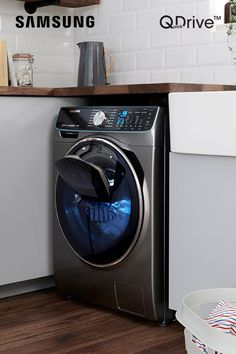Enjoy half the time washing and drying, more time for you with the same stunning performance with Samsung Quickdrive washing and dryer machines. Home Appliances, West Facing House, Cool Kitchens, Washing Machine, Small Laundry Rooms, Backyard For Kids, Home, Cooler Designs, Home Technology