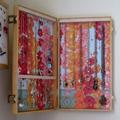 DIY a necklace storage box- good idea, but I'll need a large suitcase!