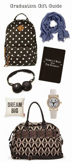 My sister graduates high school next month and I wanted to share my Graduation Gift Guide with you! If you have more ideas, comment below. High School Graduation Gifts, Grad Gifts, Graduation Photos, Graduate School, Gifts For Dad, Graduation 2015, Chunky Jewelry, Gift Guide, My Style