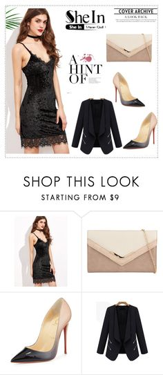 """Black Dress- SHEIN"" by narcisaaa ❤ liked on Polyvore featuring ALDO, Christian Louboutin, Sheinside and shein"