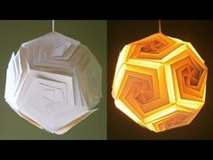 DIY lampshade (dodecahedron) - learn how to make a paper lamp/lantern by template - EzyCraft - YouTube