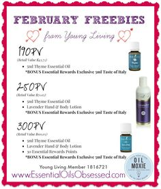 Whether you're a wholesale member or retail customer you have the opportunity to earn FREE products from Young Living. And who doesn't like getting FREE stuff!? This month Young Living is giving away 5 ml bottles of Thyme essential oil, Lavender hand and body lotion. And special gifts just for Essential Rewards members! Learn more --> http://essentialoilsobsessed.com/february-2015-freebies-from-young-living/