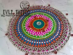 Rangoli art work at evilz tattoo by manish muchhadiya 9662034466