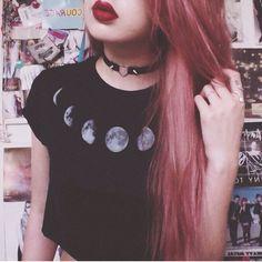 2016 édition limitée été style punk rock vintage harajuku sexy unif même paragraphe lune imprimer recadrée noir femmes top recadrée dans T-shirts de Accessoires et vêtements pour femmes sur AliExpress.com | Alibaba Group