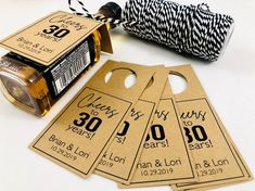 Cheers to 30 Years Anniversary, Wedding Guest Favors, Hang Tags For Adult Party Favors (Set of Custom Wedding Favours, Wedding Favors For Guests, Wedding Favor Tags, Handmade Wedding, Diy Wedding, Mini Bottles, Liquor Bottles, 30 Year Anniversary, Wedding Anniversary