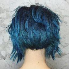 Choppy Black Bob With Blue Highlights