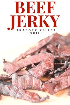 Beef Jerky On The Traeger Pellet Grill-This Recipe Is Super Simple And Delicious. Simple Smoked Beef Jerky Made On The Traeger Pellet Grill. Smoker Beef Jerky, Beef Jerkey, Smoker Jerky Recipes, Traeger Recipes, Grilling Recipes, Beef Recipes, Traeger Jerky Recipe, Traeger Bbq, Traeger Chicken