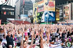 Solstice in Times Square Yamas And Niyamas, June Solstice, Times Square, Yoga Festival, Eastern Philosophy, International Yoga Day, Partner Yoga, Knowledge And Wisdom, Yoga Teacher Training