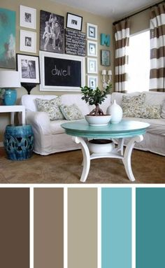 home decor living room Turquoise brown living room color scheme ideas - SHW Home Decor Decor, Living Room Color Schemes, Living Room Interior, Living Room Diy, Home Living Room, Living Room Paint, Living Decor, Brown Living Room Color Schemes, Beautiful Living Rooms