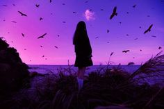 Image about girl in purple aesthetic by peaches and cream Violet Aesthetic, Dark Purple Aesthetic, Aesthetic Colors, Aesthetic Photo, Aesthetic Pictures, Neon Purple, Purple Haze, Shades Of Purple, Lilac