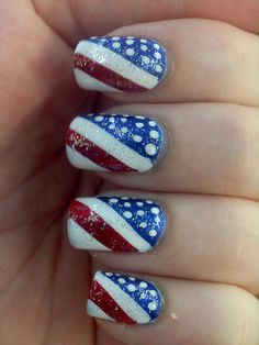 4th nails by Adrienne Victoria, via Flickr Would even be cute if it was an accent nail with the tee nails painted red, white, or blue