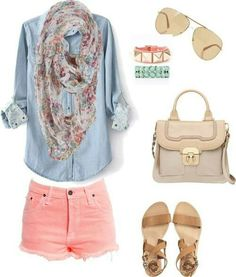 LOVE this outfit...really need a chambray top. Not sure how I feel about pink shorts with frayed edge.