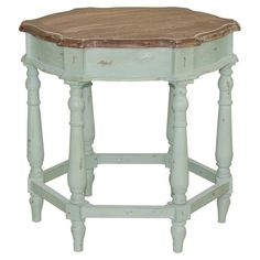 HOME DECOR – FURNITURE – TABLE – END TABLE – Distressed hexagonal hardwood end table with six turned legs and a white painted finish.  Product: End tableConstruc...