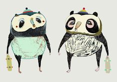 Pro Panda Skaters. Limited edition art print by illustrator Ashley Percival. Art Print.
