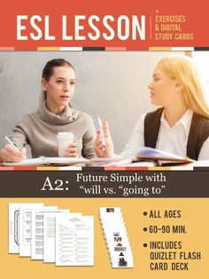 This FREE ESL / EFL English lesson plan for Ages 12 - Adult leaners teaches the difference between Future Simple with WILL and Future Simple with GOING TO. warm up, 2 studies and a activation. Esl Lessons, Spanish Lessons, English Lessons, Lessons Learned, Learn English, Spanish Class, English Lesson Plans, Esl Lesson Plans, Visual Learning