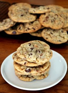 Chewy Chocolate Chip Heath Bar Cookies are laced with Heath Bar bits and big chocolate chunks, paired with a soft inside and crunchy outside.
