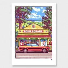 Beautiful Sunday Art Print by Ross Murray Vintage Art Prints, Vintage Posters, Fine Art Prints, New Zealand Art, Nz Art, Graphic Posters, Kiwiana, Vintage Travel, Paintings